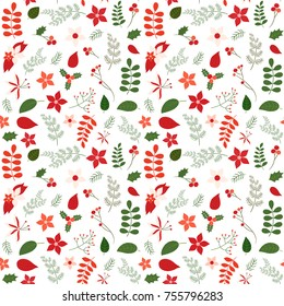 Holiday seamless vector pattern with leaves and flowers in green and red colors for Christmas designs, backgrounds and wrapping paper