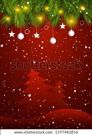 holiday season new year greetings card with decorated christmas tree branches and snow