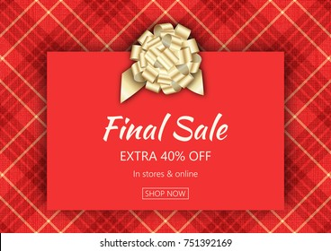 Holiday season sale banner template. Social media product promotion web banner. Christmas background with plaid texture. Vector illustration for sale flyers, posters, cards, ads, promotional material.