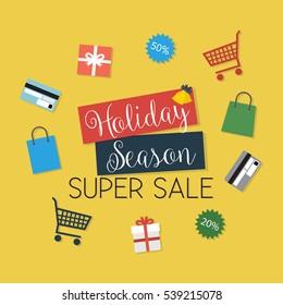 Holiday Season Super Sale - Flat Design Illustration - vector EPS10