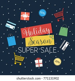 Holiday Season Super Sale - vector illustration