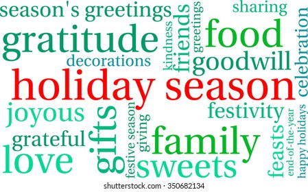Holiday Season word cloud on a white background.