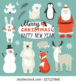 Holiday set of cute Christmas characters: Santa Claus, fox, deer, penguin, rabbit, polar bear, urchin, dog, bullfinch. Christmas card with text Merry Christmas and happy New Year. Winter background
