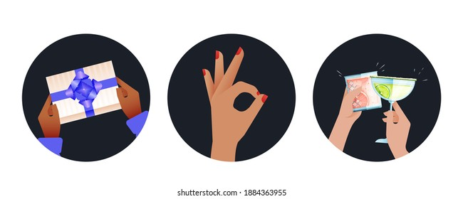 Holiday Set. Modern Flat Vector Concept Illustrations. Badges with Hands Holding Gift, Okay Sign, Cheers. Social Media Ads.