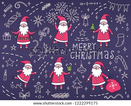 fd80b480198 Holiday set with Santa Claus and Christmas elements. Winter cartoon  characters. Decorative elements for