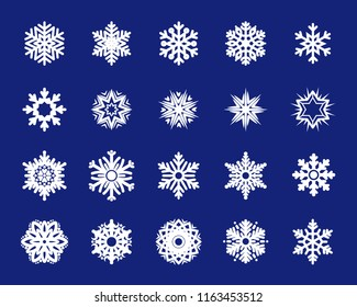Holiday set of snowflakes. Christmas collection of white snowflakes. Decorative element for card, poster or textile. Winter icons, cute stars.