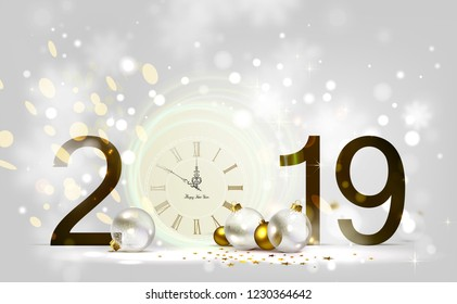 Holiday shine light Background and festive baubles. New Year Midnight on the Clock 2019.