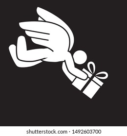holiday shipping service - winged angel delivering a gift box
