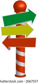 Holiday sign pole vector.editable.
