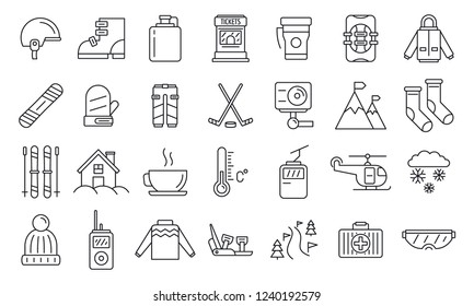 Holiday ski resort icon set. Outline set of holiday ski resort vector icons for web design isolated on white background