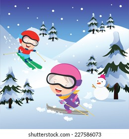 Holiday skiing. Vector illustration of children skiing on winter background.