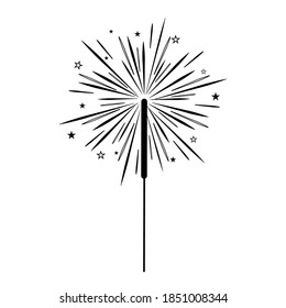 Holiday Sparkler, black outline white background, isolated, vector illustration, clipart, design, decoration, icon