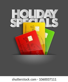 Holiday specials sale & credit bank card banner. Abstract advertising background plastic card icon. Advertising discount poster. online banking tag flyer, Promotional internet shopping sale brochure