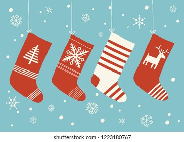 Holiday stockings.Christmas stockings vector set isolated from background. Various traditional colorful and ornate holiday stockings or socks collection. Cartoon New Year design illustrations