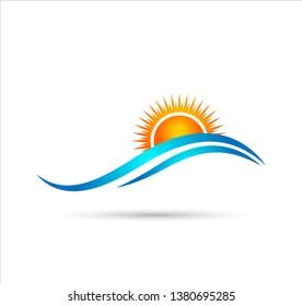 Holiday summer beach coastal sea wave vector logo