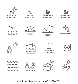 Holiday and Summer outline icons. Vector Set.