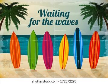 Holiday surfboards on the ocean beach card vector illustration