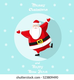Holiday symbol. Icon colorful cute Santa Claus in circle on blue background. Snowflakes. Design element for decoration poster, banner, flyer, greeting card. Cartoon style. Vector illustration
