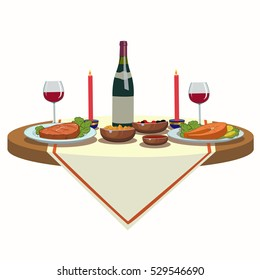 holiday table with wine and and delicious food