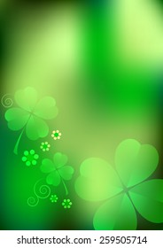 Holiday template on St. Patrick's Day. March 17. Green nature blurred background with lucky shamrocks. Vector illustration