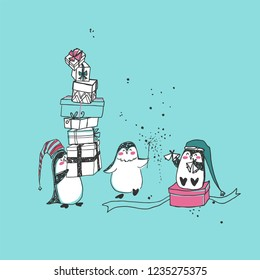 holiday theme with happy penguins
