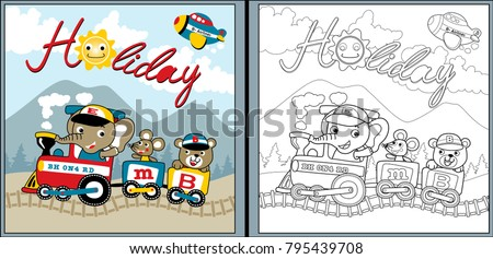 Holiday Time With Funny Animals Cartoon On Train Coloring Page Or Book
