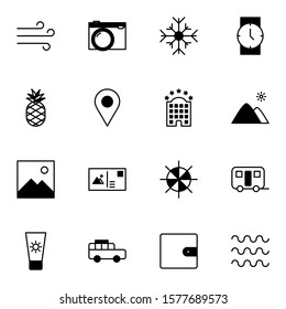 Holiday and travel icon set. Modern trip, journey, travelling solid outline icons sign. Simple icon vector illustration.