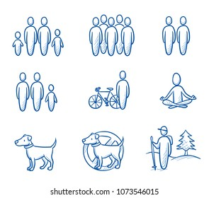 Holiday travel set with icons for group, single, couple, family, hiking, oder bike touring trips. Pet allowed or not. Hand drawn doodle vector illustration.