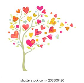Holiday tree of hearts in watercolor style, vector illustration.