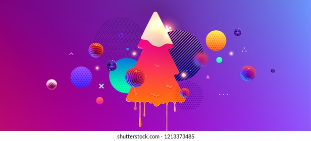 Holiday trendy cover background design with liquid Christmas tree, dynamic fluid spheres, glow snowflakes and shapes for greeting card, banner, placard or poster. Eps10 vector illustration