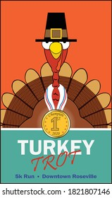 A holiday turkey displays a winning medal.