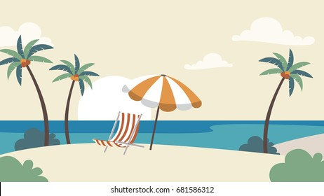 Holiday Vacation Background. Seaside with palm trees Vector illustration