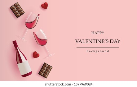 Holiday Valentine's day banner.realistic Wine bottle, Wine glass, Chocolate and red heart on pink background for greeting cards, headers and website,vector design.