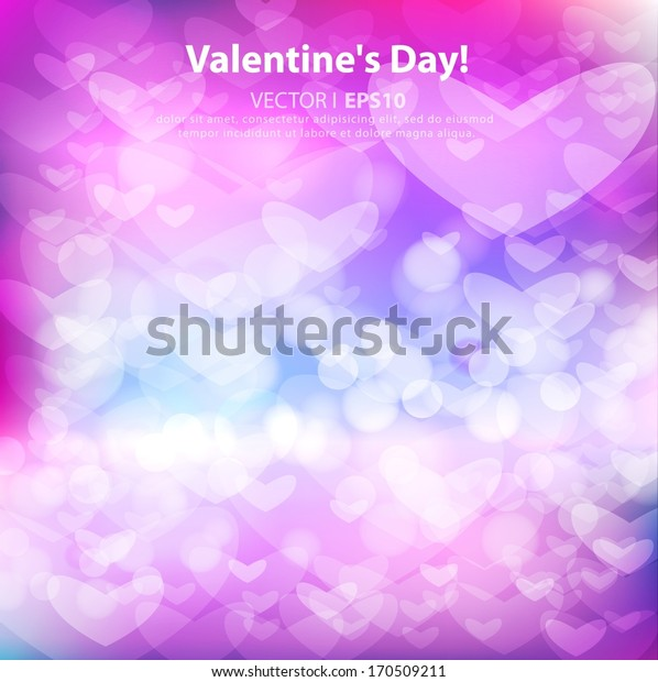 Holiday Valentine's Day on February 14. Bright, glowing background with pink heart. Vector EPS 10 illustration.