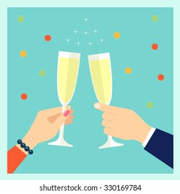 Holiday vector concept illustration in flat style. Human hands with glasses with champagne,  and confetti.