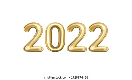 Holiday vector illustration of gold metal numbers 2022 isolated on white background. Party decoration, anniversary sign for holidays, celebration, carnival