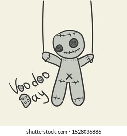 Holiday Voodoo Day. Voodoo doll on the clothesline vector drawing, man control