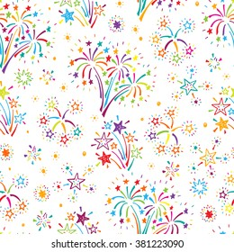 Holiday Wallpaper. Festive party background. Hand Drawn doodle Fireworks and Stars Seamless Pattern - Vector illustration