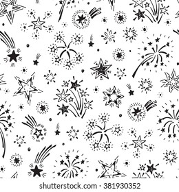Holiday Wallpaper. Festive party background. Hand Drawn doodle Fireworks and Stars Seamless Pattern - Vector illustration. Black and white background