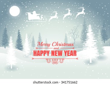 Holiday winter landscape background with Santa Claus on the sky with winter tree. Merry Christmas and Happy New Year. Vector.