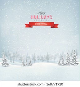 Holiday winter landscape background with winter tree. Vector.