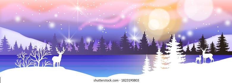 Holiday winter landscape with snow, reindeers' silhouette, pines, forest, frozen lake. Christmas night background with aurora borealis, stars. X-mas winter landscape postcard with panoramic woodland