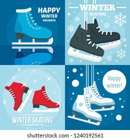 Holiday winter skating banner set. Flat illustration of holiday winter skating vector banner set for web design