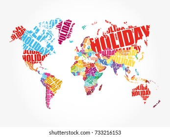 World map typography word cloud names stock photo photo vector holiday word in shape of world map typography words cloud travel concept background gumiabroncs Images
