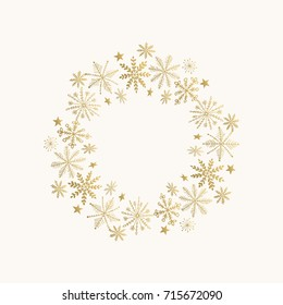 Holiday wreath with snowflakes and stars. Hand drawn golden frame. Vector illustration. Isolated.