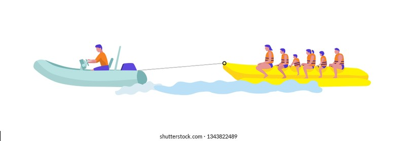 Holidaymaker on banana boat vector illustration. Sea resort entertainment clipart. Group of cartoon characters in safety jackets isolated design element. Active holiday idea for children and adults