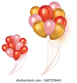 Holidays background with floating party balloons.