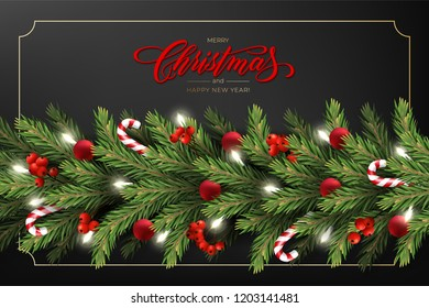 Holiday's Background for Merry Christmas greeting card with a realistic garland of pine tree branches, decorated with Christmas balls, Candy Canes, red berries. Lettering Merry Christmas