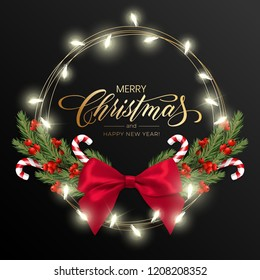 Holiday's Background for Merry Christmas greeting card with a realistic green garland of pine tree branches, decorated with Christmas lights, Christmas candy, snowflakes, red berries