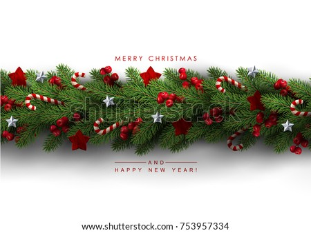 Holidays Background Season Wishes Border Realistic Stock Vector
